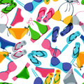 Vector seamless pattern with colorful hand drawn swimsuits and flip flops. Royalty Free Stock Photo
