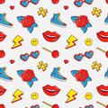 Vector seamless pattern with colorful patches.