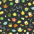 Vector seamless pattern of colorful teapots, pie, sandwich, jam jar