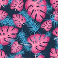 Vector seamless pattern with colorful tropical leaves. Cute bright and fun summer floral background in trendy blue pink