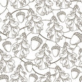 Vector seamless pattern with contour oak leaves, branches and acorns on the white background. Royalty Free Stock Photo