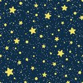 Vector seamless pattern. Cosmos. Universe. Yellow stars, constellations on a dark blue background. Starry night sky