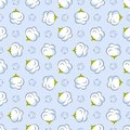 Vector seamless pattern with cotton plant on blue background.