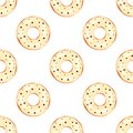 Vector seamless pattern with cream ivory donuts