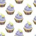 Vector seamless pattern with cupcakes, cakes, muffins. Desserts with lavander cream and lemon slices,pieces. Bakery print. Violet,