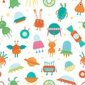 Vector seamless pattern of cute aliens, ufo, flying saucer for children