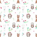 Vector seamless pattern with cute animals in love Royalty Free Stock Photo