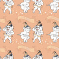 Vector Seamless pattern with cute bears are dancing.
