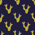 Vector seamless pattern with cute cactuses