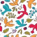 Vector seamless pattern with cute cartoon birds, plants,berries