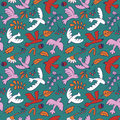 Vector seamless pattern with cute cartoon birds, plants,berries