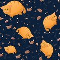 Vector seamless pattern with cute cartoon fat cats. Funny animals. Thick amusing beasts. Texture on dark blue background. Template