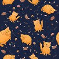 Vector seamless pattern with cute cartoon fat and strange cats. Funny animals. Thick amusing beasts. Texture on dark blue