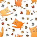 Vector seamless pattern with cute cartoon weird cats and cups of coffee. Funny animals. Texture on a white background. Template