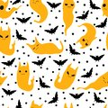 Vector seamless pattern with cute cats ghost and bats silhouette Royalty Free Stock Photo