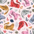 Vector seamless pattern with cute cheetahs on the pink background. Tropical animals. Fashionable fabric design