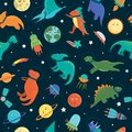 Vector seamless pattern with cute dinosaurs in outer space
