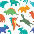 Vector seamless pattern with cute dinosaurs on white background