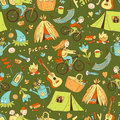 Vector seamless pattern with cute doodle family. Equipment