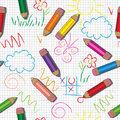 Vector seamless pattern. Cute drawings and pencils on a checkered Background
