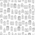Vector seamless pattern with cute houses on white background