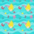 Vector seamless pattern with cute little mermaids Royalty Free Stock Photo