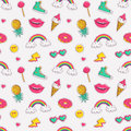 Vector seamless pattern with cute patches.