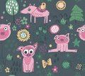 Vector seamless pattern with cute piglets, flowers, trees.