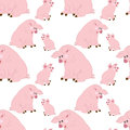 Vector Seamless Pattern with Cute Pigs. Vector Baby Pig. Pig Seamless Pattern