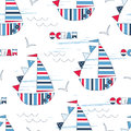 Vector seamless pattern with cute sailing ships