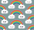 Vector seamless pattern with cute smiling rainbow and cloud faces.