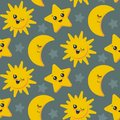 Vector seamless pattern with cute smiling sun, moon, star faces.