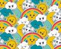 Vector seamless pattern with cute smiling sun, moon, star, rainbow, cloud, snowflake, rain drop faces