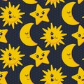 Vector seamless pattern with cute smiling sun, moon, star.