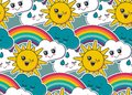 Vector seamless pattern with cute smiling sun, rainbow, cloud, rain drop faces.