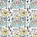 Vector seamless pattern with cute Teddy bears hearts and flowers.
