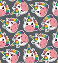 Vector seamless pattern with cute unicorn faces