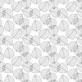 Vector seamless pattern. Decorative geometric leaves. Floral background with elegant botanical motif. Modern stylish