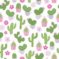 Vector seamless pattern with a desert prickly pear cactus and other cacti.