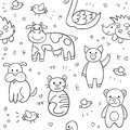 Vector seamless pattern with different hand drawn illustrations
