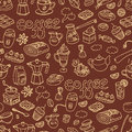 Vector seamless pattern with doodle coffee. Equipment