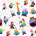 Vector seamless pattern with doodle school object icons and funny cartoon animal students