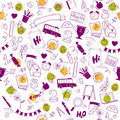 Vector seamless pattern with doodle school supplies on white background.