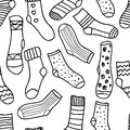 Vector seamless pattern of doodle socks for web design prints etc repeating background can be copied without any seams invitation Stock Image