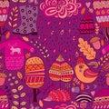 Vector seamless pattern, doodling autumn design.