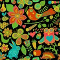 Vector seamless pattern, doodling design. Hand draw flowers and leafs. Kids illustration, cute background. Color doodle background