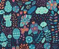 Vector seamless pattern, doodling design. Hand draw flowers and leafs. Kids illustration, cute background. Color doodle background Royalty Free Stock Photo