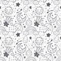 Vector seamless pattern dooodle sketch kids set. Hand dreawn style. Baby wreath cloud,moon,sun,rainbow,cloud