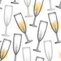 Vector seamless pattern with dotted champagne glass or flute in black and blots on the white background. Royalty Free Stock Photo