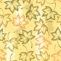 Vector seamless pattern with dotted maple leaves on the orange background. Floral autumn elements in dotwork style. Royalty Free Stock Photo